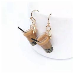 Eyecatcher Ohrring-Set Bubble Tea Ohrringe. Hakenohrringe. braun