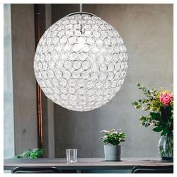 etc-shop Kugelleuchte, Decken Pendel Lampe Chrom Kristalle klar Kugel Lampe im Set inklusive LED-Leuchtmittel