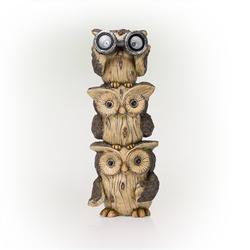 Alpine Solar Three Stacked Binocular Owls Polyresin Statue with LED Lights