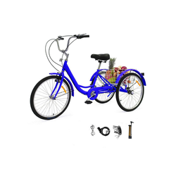 Zehnhase Dreirad Erwachsene 24 Zoll, 1 Gang, (1 x Dreirad), mit Warenkorb inkl. Zubehör blau