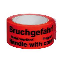 Packband Klebeband, 50mmx66m, rot mit mehrsprachigen Aufdruck BRUCHGEFAHR