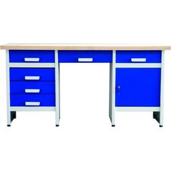 HAROMAC Meistertisch-Werkbank mit Sitznische Farbe Schwarz-Silber 1700 x 850 x 600 mm 12420006