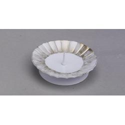 Taufkerzenhalter weiß/gold aus Eisen mit Dorn Ø 9,5 cm für Taufkerzen