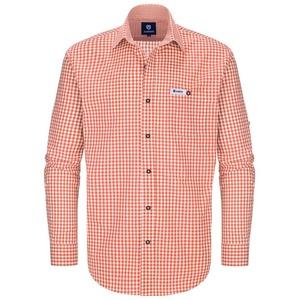 Almbock Trachtenhemd Trachten Hemd Hannes orange-weiß-kariert 3XL