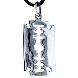 Kiss of Leather Kettenanhänger Rasierklinge Anhänger 925 Sterling Silber Rasierklinge Razor Blade glatt