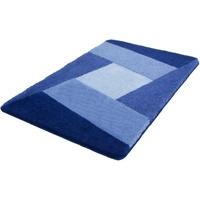Badematte Indiana Kleine Wolke, Höhe 20 mm, rutschhemmend beschichtet, fußbodenheizungsgeeignet blau rechteckig - 70 cm x 120 cm x 20 mm