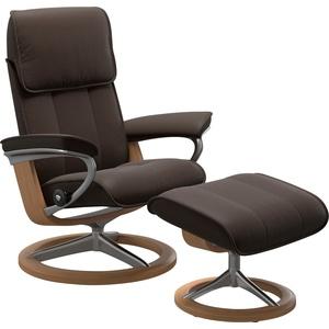 Stressless® Relaxsessel Admiral (Set, Relaxsessel mit Hocker), mit Hocker, mit Signature Base, Größe M & L, Gestell Eiche braun 84 cm x 110 cm x 73 cm