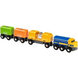 BRIO Spielzeug-Eisenbahn Güterzug mit drei Waggons, FSC-Holz aus gewissenhaft bewirtschafteten Wäldern bunt Kinder Ab 3-5 Jahren Altersempfehlung