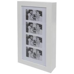 elbmöbel Bilderrahmen Schmuckschrank weiß mit Bilderrahmen, für 4 Bilder, Bilderrahmen: Schmuckschrank 30x56x8 cm weiß Standrahmen