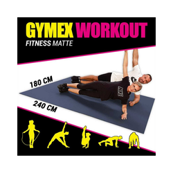 GYMEX Yogamatte GYMEX Fitness-Matte, XXL extra groß, rollbar, für Yoga, Sport & Fitness blau 180 cm x 240 cm x 0,5 cm