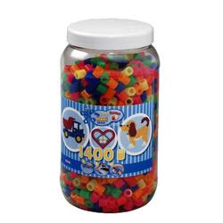 HAMA Bügelperlen Maxi - Neon Mix 1400 Perlen (6 Farben) in Aufbewahrungsdose 8542
