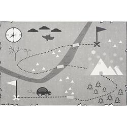 Kinderteppich SCHATZKARTE, grau, 100 x 160 cm