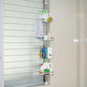 Edelstahl Badregal Bad Teleskop Duschablage Duschregal Eckregal 4 Ebenen Regal (A)