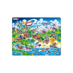 Larsen Puzzle Rahmen-Puzzle, 18 Teile, 36x28 cm, Auto, Boote,, Puzzleteile