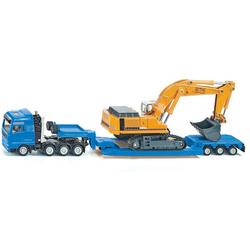 Siku Spielzeug-LKW SIKU Super, MAN TG-A mit Tiefbettauflieger blau Kinder Ab 3-5 Jahren Altersempfehlung Spielzeugfahrzeuge
