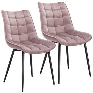 Woltu Esszimmerstuhl BH142, 2er-Set Küchenstuhl mit Rückenlehne aus Samt Metallbeine Elif rosa