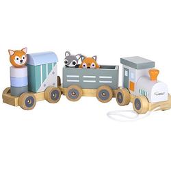 Holz-Eisenbahn Spielzeugeisenbahnen bunt