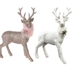 Hirsch mit Schal 21x15 cm Rentier mit Plüschschal - Weihnachten Weihnachtsdeko