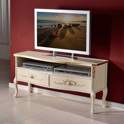 TV Board in Weiß und Goldfarben Barockstil