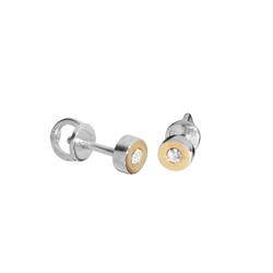 Ohrstecker - Sunny Exklusiv - Silber 925/000 & Gold 585/000 - Swarowski-Kristall OSTSEE-SCHMUCK gelb