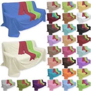Qool24 Überwurf Popeline Baumwollstoff in viele Farben und Größen Sofaüberwurf Bettüberwurf Creme 210 x 240 cm