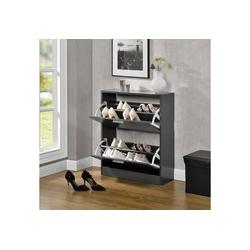 en.casa Schuhschrank Schuhkipper mit 2 Türen grau