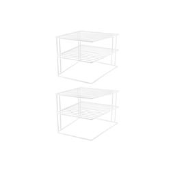 Wellgro Geschirrständer 2x Schrankeinsatz mit 2 Etagen - weiß, 25 x 25 x 20 cm, Metall mit Kunststoffummantelung, Tellerregal, Geschirrregal, Eckregal