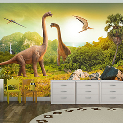 Fototapete Dinosaurier mehrfarbig Gr. 350 x 245