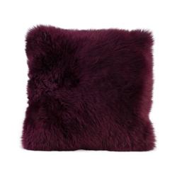 Gözze Schaffell-Kissen, 40 x 40 cm, Echtfellkissen in aktuellen trendigen Farben, Farbe: brombeere