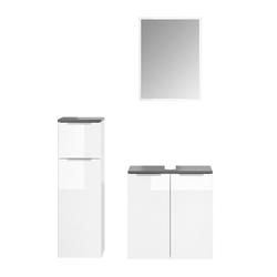 Vicco Badmöbel-Set OTIS Weiß - Waschtischunterschrank Midischrank Spiegel