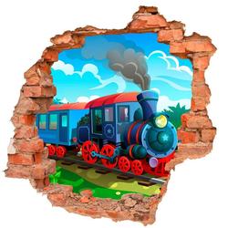 DesFoli Wandtattoo Comic Eisenbahn Lok B0734 bunt 110 cm x 106 cm