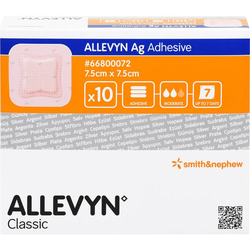 ALLEVYN Ag Adhesive 7,5x7,5 cm Wundverband 10 St.