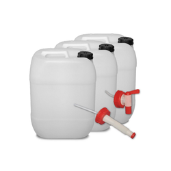 Plasteo Kanister plasteo 3er Set: 20 Liter Getränke- Wasserkanister Natur + Hahn + Ausgießer, 3 Kanister + Hahn + Ausgießer