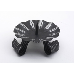 Hochzeitskerzenhalter Dreifuß Schwarz gelackt aus Eisen mit Dorn Ø 10 cm für Hochzeitskerzen