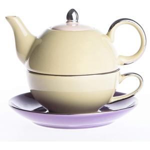 Artvigor, Tea for One Set, Porzellan Kaffee Tee Kanne mit Tasse und Untertasse, 3-teilig Kaffeeservice Tee Set in Geschenkverpackung