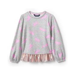 Sweatshirt mit Rüschensaum, Kids, Größe: 140/152 Mädchen, Grau, Wolle, by Lands' End, Grau-Meliert Einhörner - 140/152 - Grau-Meliert Einhörner