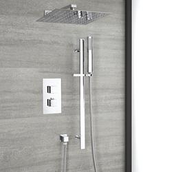 Thermostat Duschsystem mit 30cm x 30cm Wand-Duschkopf & Brausestangenset in Chrom - Kubix