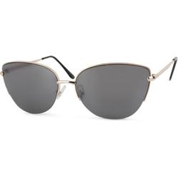 styleBREAKER Sonnenbrille Cat Eye Sonnenbrille mit Halbrahmen Getönt goldfarben
