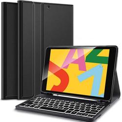 IVSO für iPad 10,2 Zoll (7. und 8. Gen, Modell 2020/2019) Tastatur, iPad Air 2019(3. Gen) Tastatur Hülle mit Pencil Halter Tablet-Tastatur (Bluetooth Abnehmbar QWERTZ Backlight Tastatur, Schwarz)