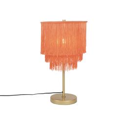 Orientalische Tischlampe goldrosa Schirm mit Fransen - Franxa