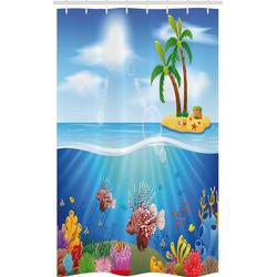 Abakuhaus Duschvorhang Badezimmer Deko Set aus Stoff mit Haken Breite 120 cm, Höhe 180 cm, Leben im Meer Rotfeuerfisch und Korallenriffe