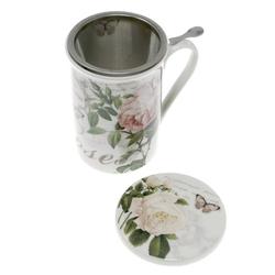 Lashuma Tasse Rosen, Teetasse mit Sieb und Untersetzer, Porzellanbecher 300 ml