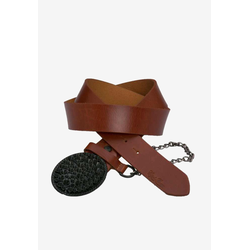Cipo & Baxx Ledergürtel, mit cooler Gürtelkette braun Damen Ledergürtel Gürtel Accessoires