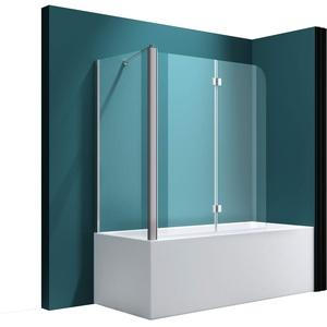 Badewannenfaltwand C113, Wandanschlag links, in Klarglas 6mm ESG-Glas Nano-Versiegelung, BTH: 80x120x140cm