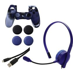 Hama 7in1 Controller-Zubehör-Paket Blue Camo für Sony Gaming-Controller