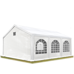 Toolport Partyzelt 3x6m PE 300 g/m² weiß wasserdicht Gartenzelt, Festzelt, Pavillon