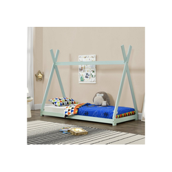 en.casa Kinderbett, Onejda Hausbett 90x200cm aus Kiefernholz in mintgrün lackiert grün