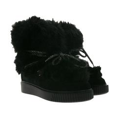 Marc Cain MARC CAIN Echtleder-Boots flauschige Damen Winter-Stiefel Echtleder Booties Schwarz Stiefel