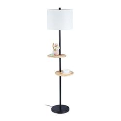 relaxdays Stehlampe Stehlampe mit 2 Tischen