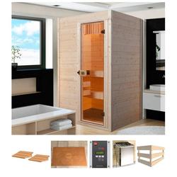 weka Sauna Sara 2, BxTxH: 244 x 194 x 199 cm, 68 mm, 9 kW Bio-Ofen mit ext. Steuerung